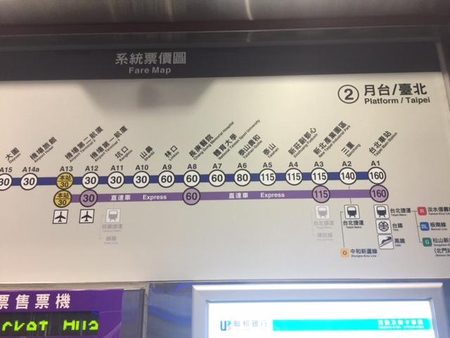 台北駅-桃園空港間は機場捷運(MRT)で