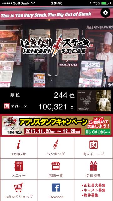いきなりステーキ 100kg到達!